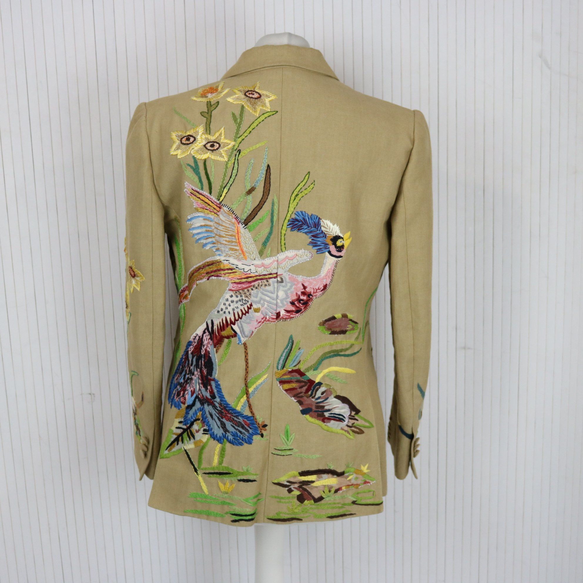 Valentino Sand Linen Jacket with Bird of Paradise Embroidery UK8