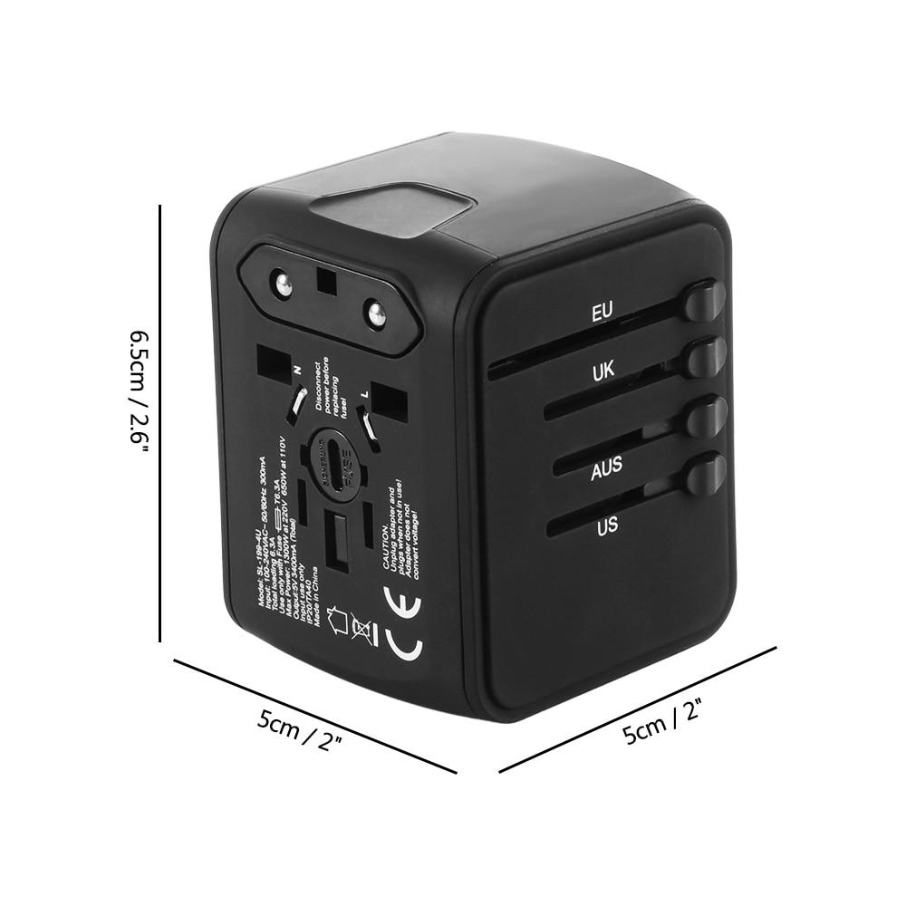 Smart Travel Adapter All-in-one with 6.3A 4 USB Worldwide Wall Charger for UK/EU/AU/Asia