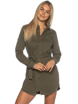 Military Green L/S Button Up Dress